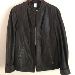 Brown Genuine Leather Coat with Double Zipper